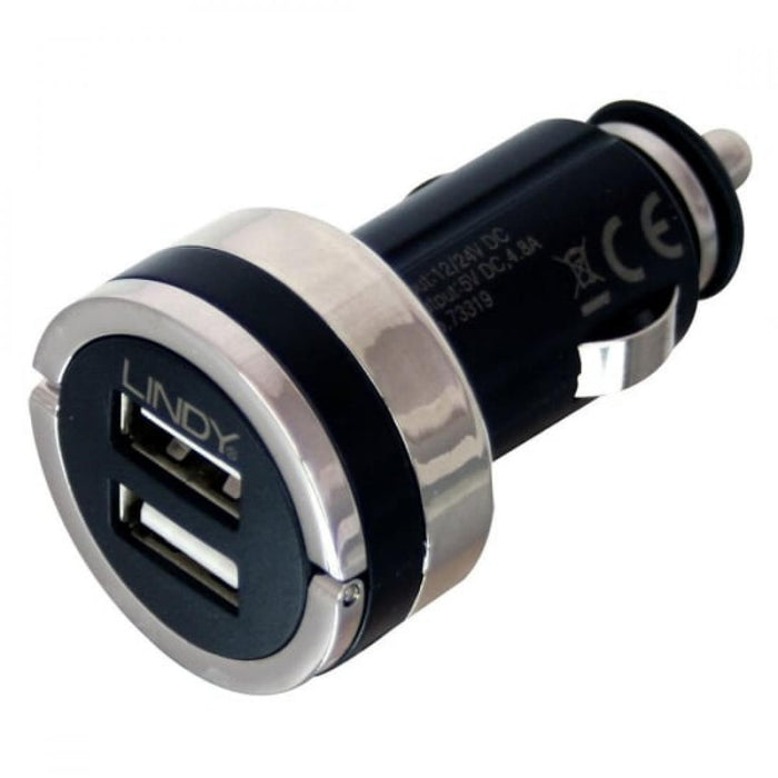 LINDY Dual Smart USB Car Charger 4.8A