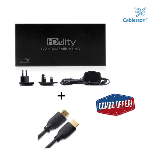 Cablesson 1x2 HDMI 2.0 Splitter WITH EDID (18G) with Basic 1m High Speed HDMI Cable with Ethernet - Black