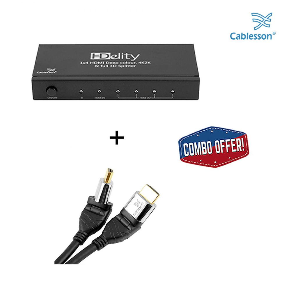 Cablesson HDelity 1x4 HDMI splitter with 4K2K with Ivuna Flex Plus 0.5m High Speed HDMI Cable with Ethernet