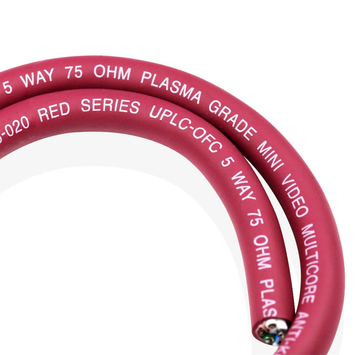 Van Damme Red Series Plasma Grade Mini Coaxial Video Multicore Cable 5 Way 75 Ohm 268-305-020 13 Metre / 13M - hdmicouk