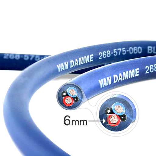 Van Damme Professional Blue Series Studio Grade 2 x 6 mm (2 core) Twin-Axial Speaker Cable 268-565-060 8 Metre / 8M