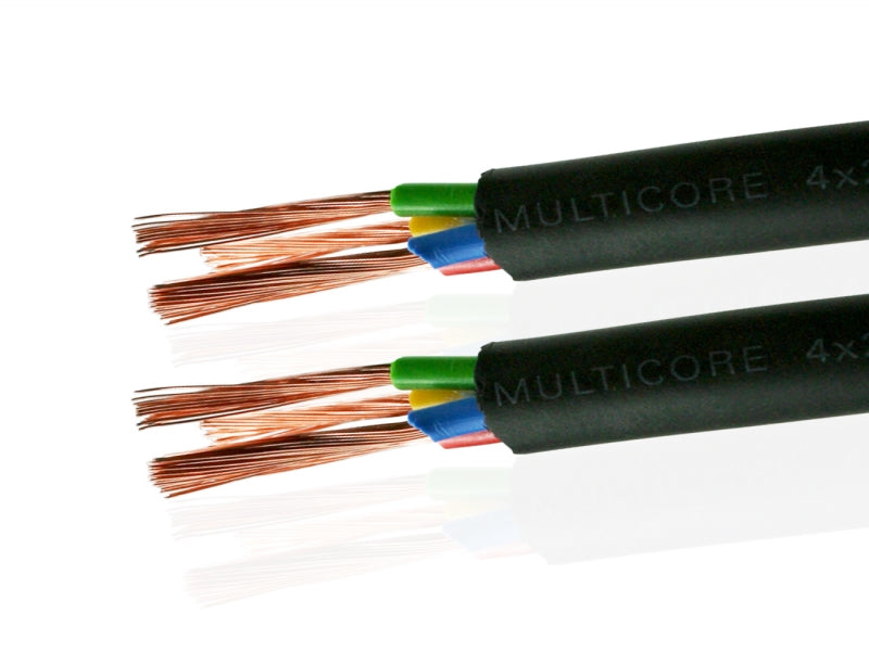 Van Damme Black Series Tour Grade 4 x 2.50mm Multicore Speaker Cable, Black 268-542-000 12 Metre / 12M - hdmicouk