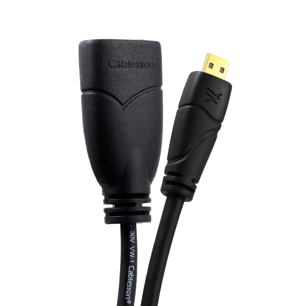 Cablesson Ivuna Micro HDMI 0.5m Extension - upto 1080p - v1.4 / 2.0 - Audio & Video - Full HD - Connecting HD Devices using the new Micro HDMI Connector to PC or TV Gold Plated 3D Full HD 1080p 4k2k
