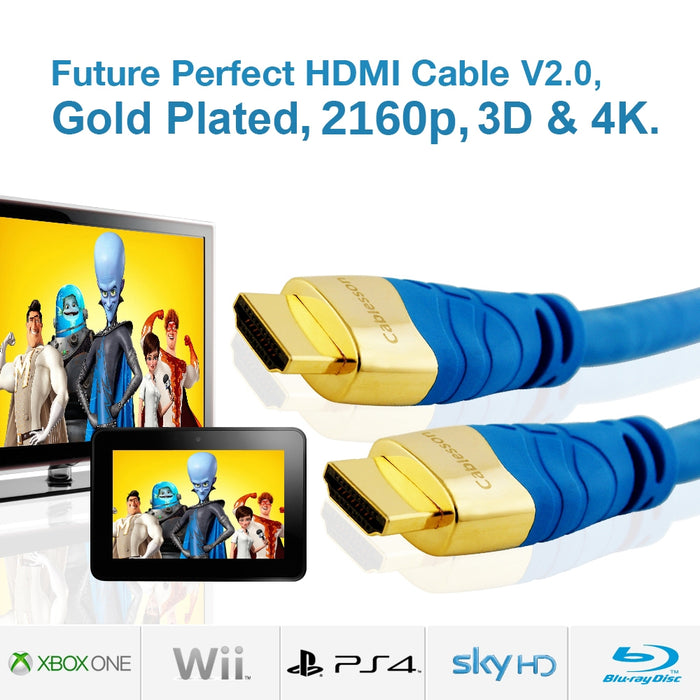 Cablesson Kaiser II 20m High Speed HDMI Cable - 8k, 4, 3D, Full HD, Ultra HD, 2160p, HDR, ARC, Ethernet - (HDMI 2.1/2.0b/2.0a/2.0/1.4) For PS4, Xbox One, Wii, Sky Q, LCD, LED, UHD, CL3 certified - Blue - hdmicouk