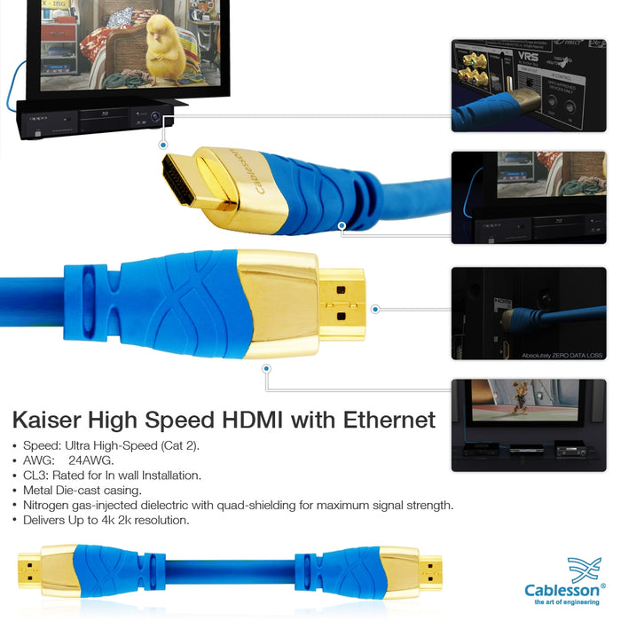 Cablesson Kaiser II 7.5m High Speed HDMI Cable - 8k, 4, 3D, Full HD, Ultra HD, 2160p, HDR, ARC, Ethernet - (HDMI 2.1/2.0b/2.0a/2.0/1.4) For PS4, Xbox One, Wii, Sky Q, LCD, LED, UHD, CL3 certified - Blue - hdmicouk