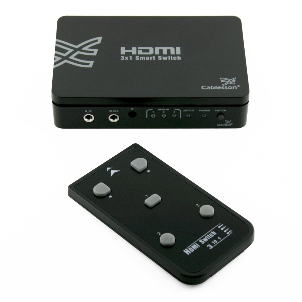 Cablesson Basic 3 x 1 HDMI switch with remote control - 5 port Selector Switcher HDMI Hub - for HDTV, Sky and other TV boxes, PS4/3, Xbox One/360 and more - HDMI 2.1, 2.2, 3D, Full HD, 4k, Ultra HD - hdmicouk