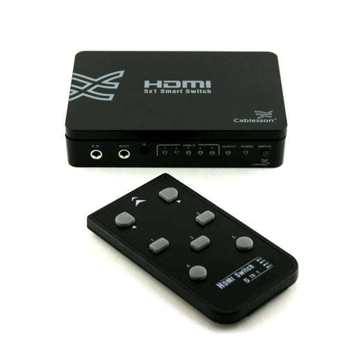 Cablesson Basic 5 x 1 HDMI switch with remote control - 5 port Selector Switcher HDMI Hub - for HDTV, Sky and other TV boxes, PS4/3, Xbox One/360 and more - HDMI 2.1, 2.2, 3D, Full HD, 4k, Ultra HD - hdmicouk