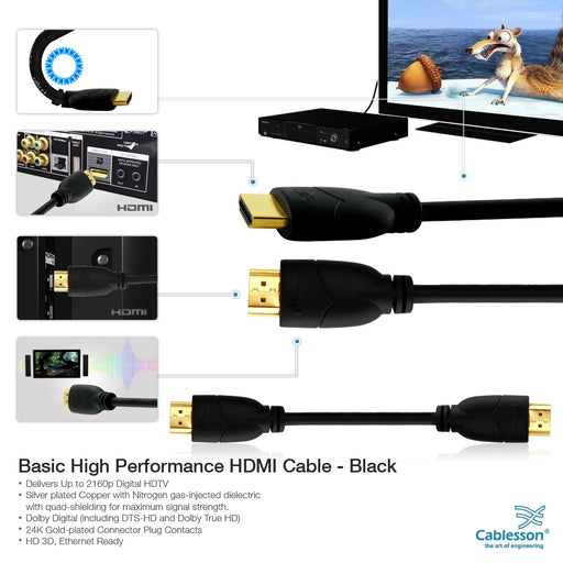 Cablesson Basic 1m High Speed HDMI Cable (HDMI Type A, HDMI 2.1/2.0b/2.0a/2.0/1.4) - 4K, 3D, UHD, ARC, Full HD, Ultra HD, 2160p, HDR - for PS4, Xbox One, Wii, Sky Q. For LCD, LED, UHD, 4k TVs - Black - hdmicouk