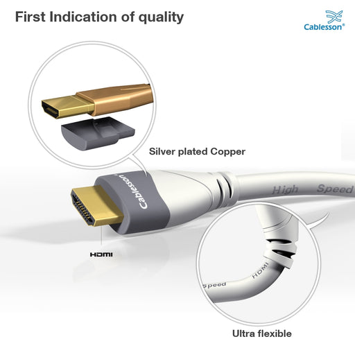 Cablesson MacKuna 4m High Speed HDMI Cable with Ethernet - White - hdmicouk