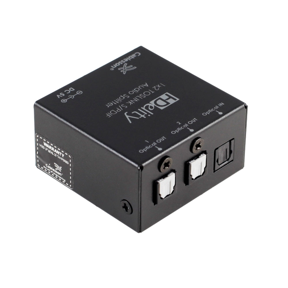 Cablesson HDElity 1x2 Toslink S/PDIF Audio Splitter - 2 Way Toslink Digital Optical SPDIF Audio 1x2 Splitter Adaptor - hdmicouk