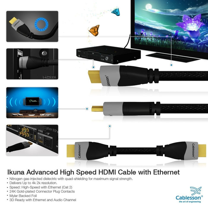 Cablesson Ikuna 2m High Speed HDMI Cable (HDMI Type A, HDMI 2.1/2.0b/2.0a/2.0/1.4) - 4K, 3D, UHD, ARC, Full HD, Ultra HD, 2160p, HDR - for PS4, Xbox One, Wii, Sky Q, LCD, LED, UHD, 4k TVs - Black - hdmicouk