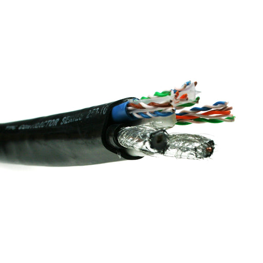 VDC Contractor Series Multimedia Hybrid Cable (2 x Cat 6 U/UTP, 1 x Cat 5E U/UTP and 2 quad shielded RG6), Black 250-100-212 - 16m - hdmicouk