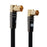 XO Antenna Angled Cable - Black - Male plug to Female socket TV Aerial Coaxial Cable - 3m - hdmicouk