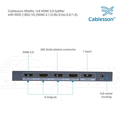 Cablesson 1X4 HDMI 2.0 Splitter WITH EDID (18G) v2+Mackuna Flex Plus 3m High Speed HDMI Cable with Ethernet.