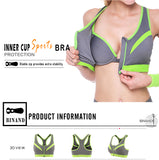 Sexy Double Layer High-Impact Push Up Fitness Bra Front Zipper-Style Crop Bra