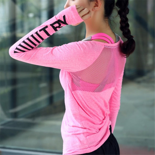 Women Sport Wear  Fitness Sport Suit Yoga Quick-dry Clothes Long Sleeve shirt tops