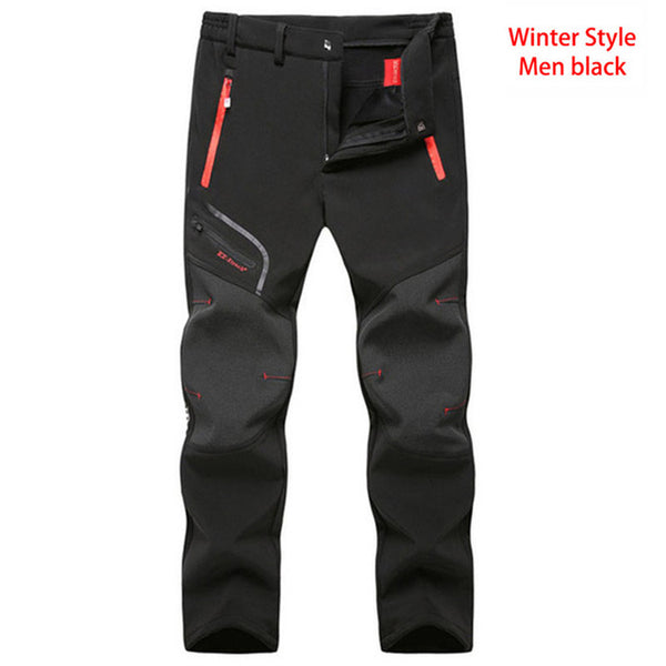 Autumn Winter Softshell Hiking Camping Cycling Pants Men Waterproof