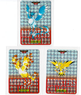 Pokemon Prism Carddass Pocket Monsters 1996 Articuno Moltres Zapdos Bandai #red