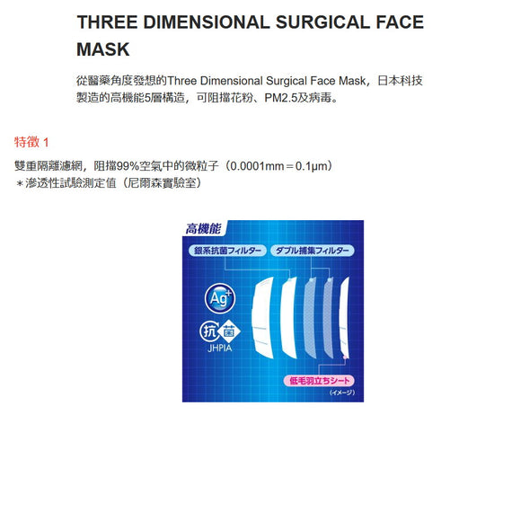 Kowa 3D surgical mask '30 pcs' Small size (1box)