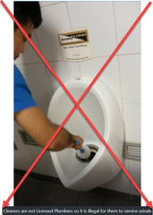 servicing of urinals is illegal if undertaken by cleaners