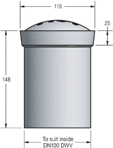 overflow relief cap dimensions