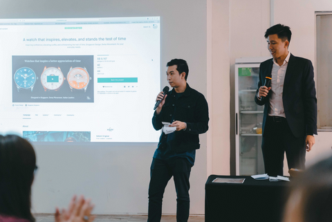 Bryan (right) and Ryan (Co-founder of WTP, left) addressing the 165 attendees of Sekoni Original Kickstarter Launch Party held at Millenia Walk.