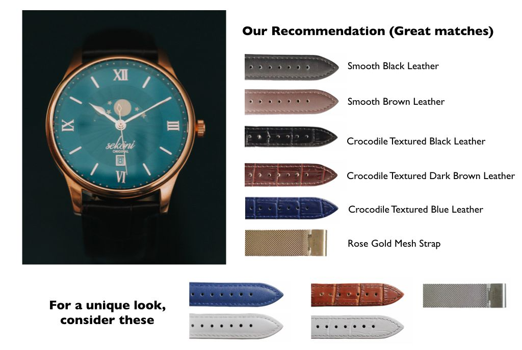 Midnight Blue Dial Rose Gold Case Watch strap pairing for affordable and luxury watches for men and women.jpeg