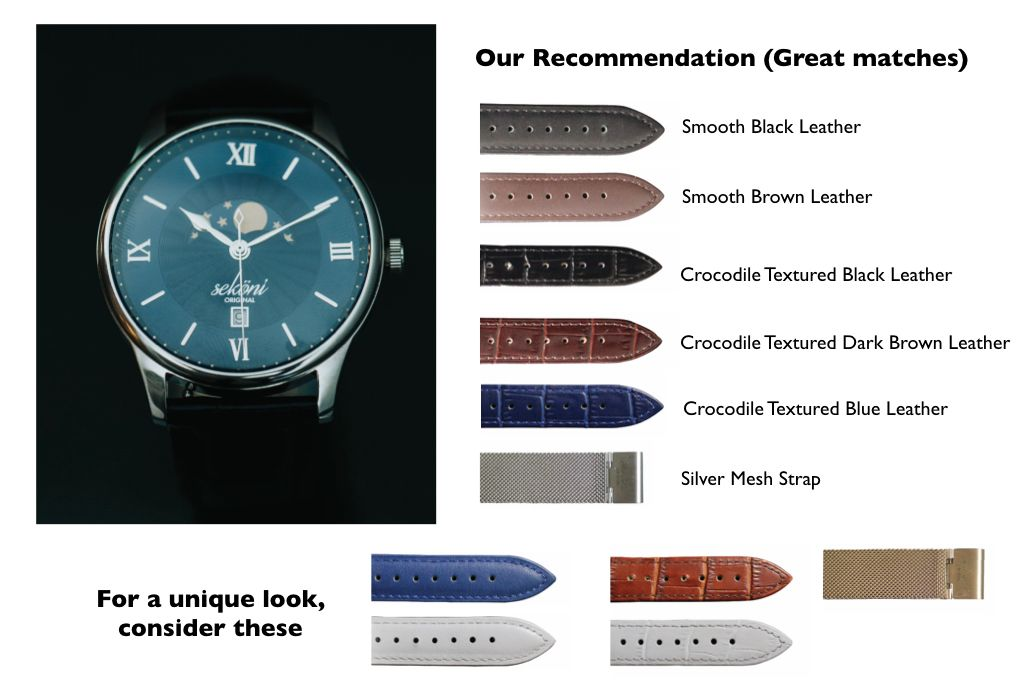 Midnight Blue Dial Silver Case Watch strap pairing for affordable and luxury watches for men and women