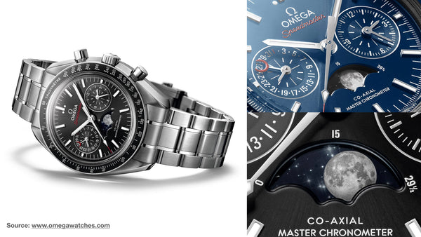 Omega Speedmaster Moonphase Master Co-Axial- Top 10 moonphase watches of all time from Sekoni Original- Affordable and Luxury Moonphase timepieces for men and ladies/women