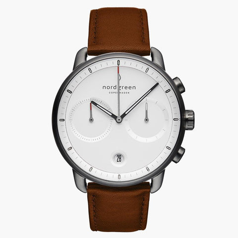 Pioneer - White Dial/ Brown Leather