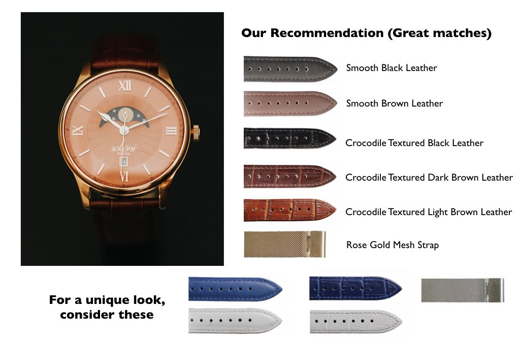 Salmon Dial Rose Gold Case Watch strap pairing for affordable and luxury watches for men and women