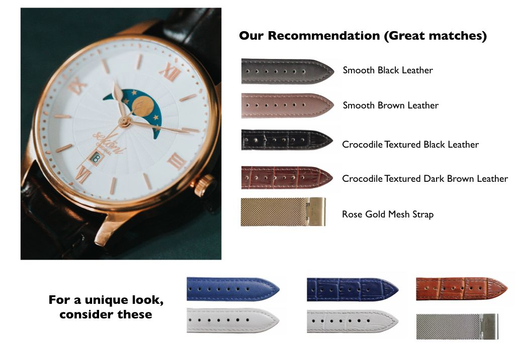 White Dial Rose Gold Case Watch strap pairing for affordable and luxury watches for men and women