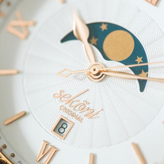 Classic Rose Gold Tidal Moonphase Watch Face