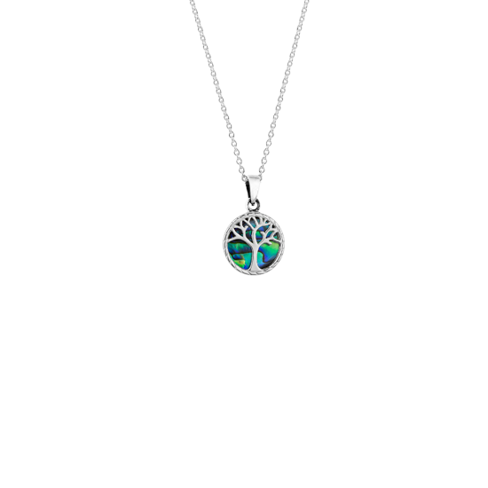 Tree of Life design necklace featuring New Zealand paua, meaning strength, from Evolve Inspired Jewellery