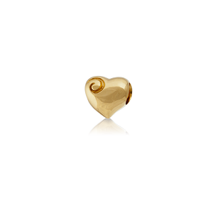 Aotearoa's Heart, gold bead charm from Evolve Inspired Jewellery
