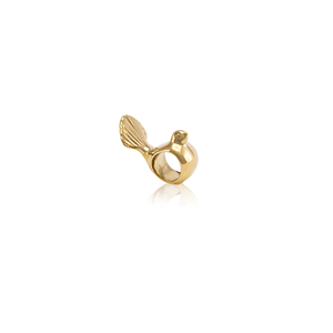 Fantail, gold bead charm from Evolve Inspired Jewellery
