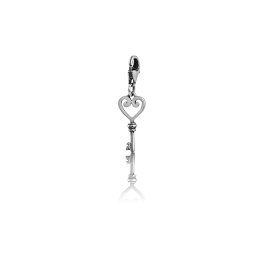 Koru Heart Key, silver link charm, from Evolve Inspired Jewellery