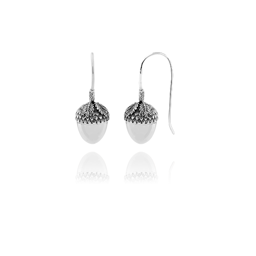 Sterling silver drop earrings featuring a acorn design, meaning potential, from Evolve Inspired Jewellery