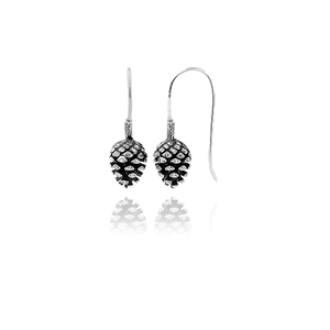 Sterling silver drop earrings featuring a pinecone design, meaning independence and intuition, from Evolve Inspired Jewellery
