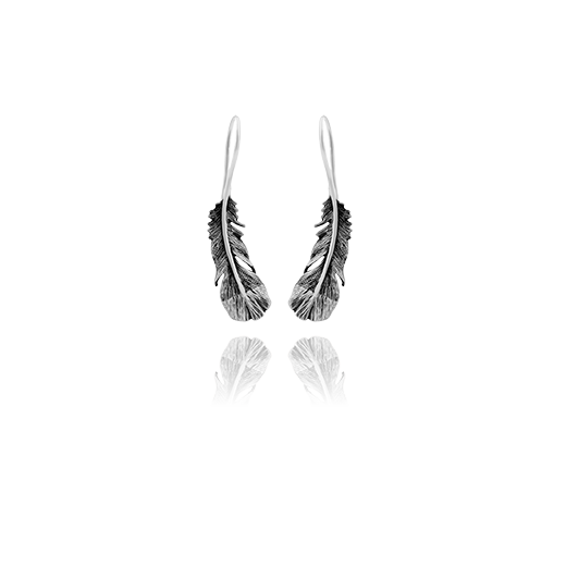 Huia drop earrings made from sterling silver, meaning admired, from Evolve Inspired Jewellery