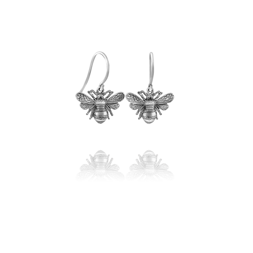 Sterling silver drop earrings featuring a bumble bee design, meaning diligent, from Evolve Inspired Jewellery