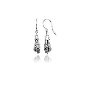 Sterling silver kowhai drop earrings, meaning happiness, from Evolve Inspired Jewellery