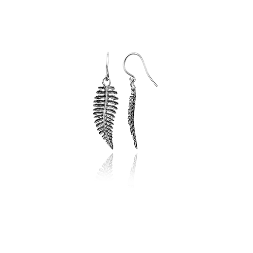 Sterling silver drop earrings featuring a fern design, meaning treasured, from Evolve Inspired Jewellery
