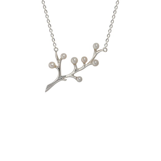 Sterling silver blossom design necklace featuring pearls, from Evolve Inspired Jewellery