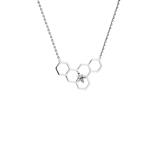 Sterling silver honeycomb design necklace, meaning healing, from Evolve Inspired Jewellery