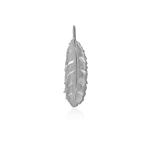 Polished sterling silver necklace pendant featuring a huia feather design, from Evolve Inspired Jewellery