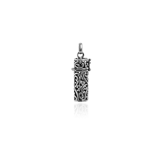 Sterling silver necklace locket pendant with Maori Kowhaiwhai design, from Evolve Inspired Jewellery