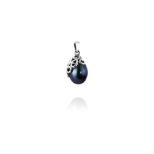 Sterling silver necklace pendant featuring a night blue pearl, from Evolve Inspired Jewellery