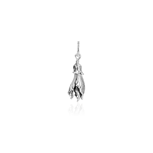Sterling silver kowhai design necklace pendant, meaning happiness, from Evolve Inspired Jewellery