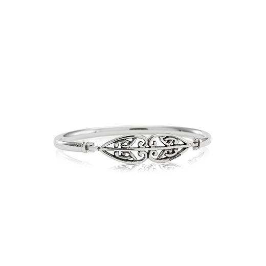 Sterling silver Family Whanau Bangle, size 19cm, from Evolve Inspired Jewellery